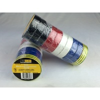 Repelec Rainbow Pack (10 Rolls) Electrical Tape 0.18mm x 19mm x 20m